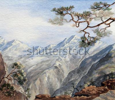 Quadro esboço desenhado de mão com montanhas