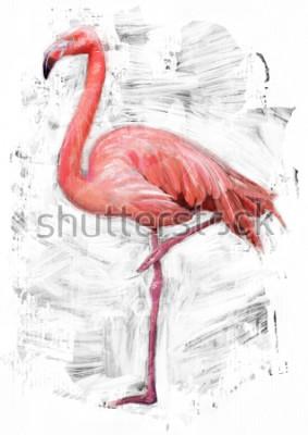 Quadro esboço do pássaro do flamingo / pintura da cor de óleo