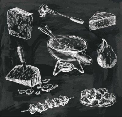 Quadro Esboços de fondue de queijo
