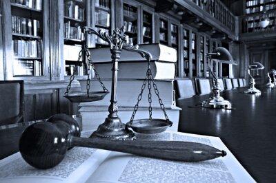 Quadro Escalas decorativas de justiça na biblioteca