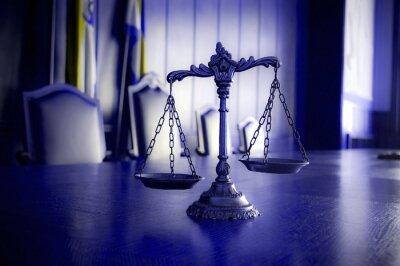 Quadro Escalas decorativas de justiça na sala do tribunal