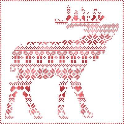 Quadro Escandinavo, nórdico, Inverno, cosendo, confecção, Natal, Padrão, in, rena, corporal, FORMA, incluir, Snowflakes, corações, xmas, árvores, natal, Presentes, neve, estrelas