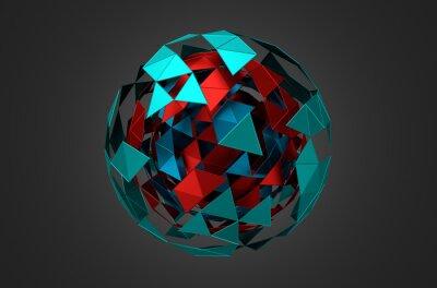 Quadro Esfera de metal Low Poly com estrutura caótica.