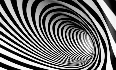 Quadro Espiral Fondo blanco y negro en abstracta 3d