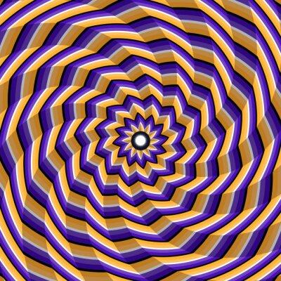 Quadro Espiralado facetado torcendo para o centro. Fundo abstrato da ilusão ótica do vetor.
