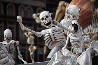 Quadro Esqueletos do dia tradicional dos Mortos, do México