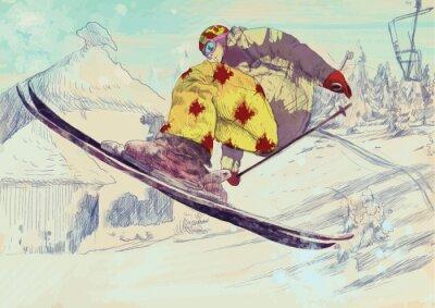 Quadro Esquiador estilo livre, truque (isso é desenho convertido em vetor)
