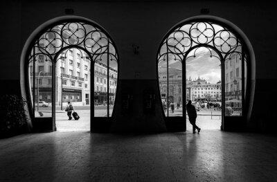 Quadro Estação Ferroviária do Rossio. Antiga cidade de Lisboa. Portugal.