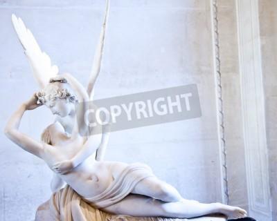 Quadro Estátua Psique de Antonio Canova Revived pelo beijo do Cupido, primeiro comissionado em 1787, exemplifica a devoção Neoclassical para amar e emoção