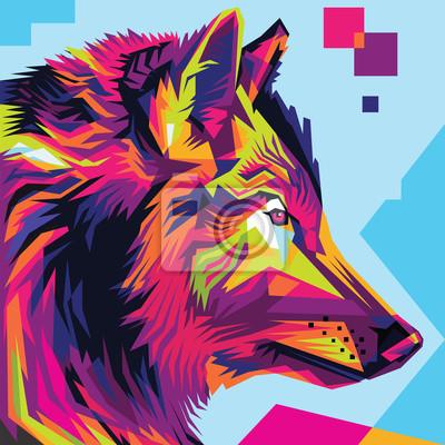Quadro Estilo da ilustração do pop art da cabeça de lobo