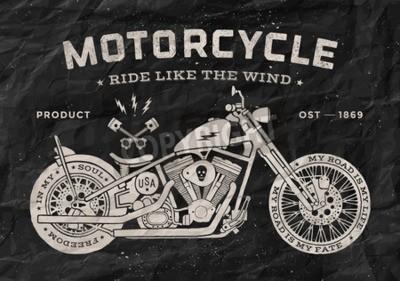 Quadro Estilo da velha escola da motocicleta da raça do vintage. Cartaz preto e branco, cópia para o t-shirt. Ilustração do vetor.