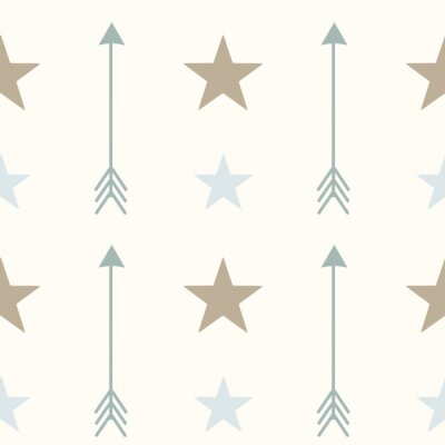 Quadro Estilo nórdico cores setas e estrelas seamless vetor padrão ilustração fundo