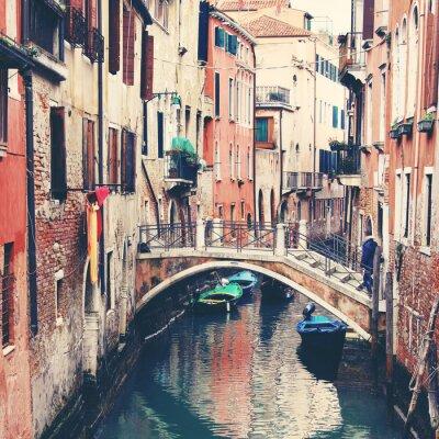 Quadro Estreito, canal, ponte, Veneza, Itália