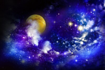 Quadro Estrelas e lua cheia no céu nocturno.