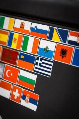 Quadro Etiquetas da bandeira de país