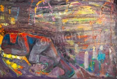 Quadro Etnografia, M.Sh. Khaziev. Artista Honrado de Tatarstan. A imagem pintada nos óleos. Homem adormecido