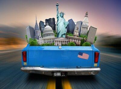 Quadro EUA, atrações EUA no tronco de um carro em movimento