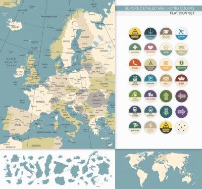 Quadro Europa map.Retro detalhada Colors