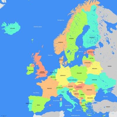 Quadro Europa mapa detalhado