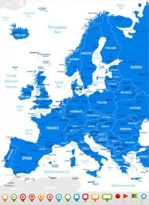 Quadro Europa - mapa e navegação icons.Highly vector detalhada illustration.Image contém próximos camadas: os contornos terrestres, nomes de países e terrestres, nomes da cidade, nomes de objetos de água, íc