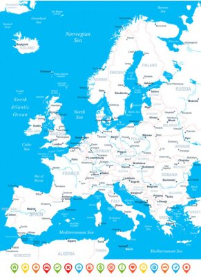 Quadro Europa mapa - ilustração altamente detalhada do vetor.
