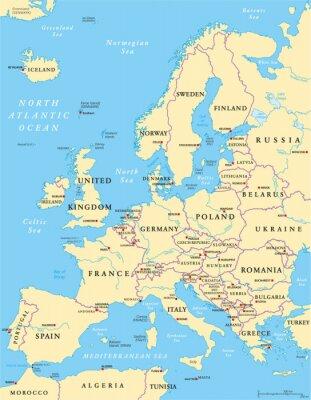 Quadro Europa Mapa Político