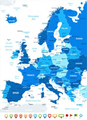Quadro Europe map - highly detailed vector illustration. Image contains land contours, country and land names, city names, water object names, navigation icons.