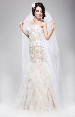 Quadro Expectativa. Noiva Linda Jubilant no vestido de casamento branco