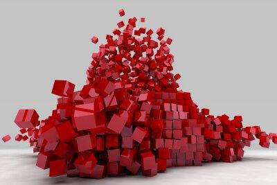 Quadro Explosão de campo de cubos vermelhos. 3D rendem a imagem.