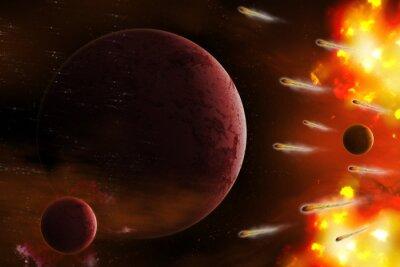 Quadro Explosão de espaço / Explosão de espaço com planeta de ataque de cometa. Retoque digital.