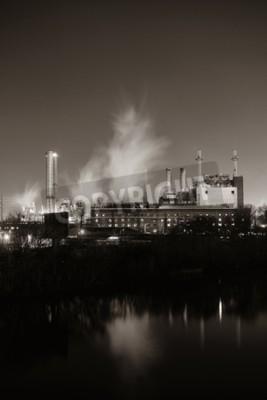 Quadro Fábrica com chaminé à noite na Filadélfia.