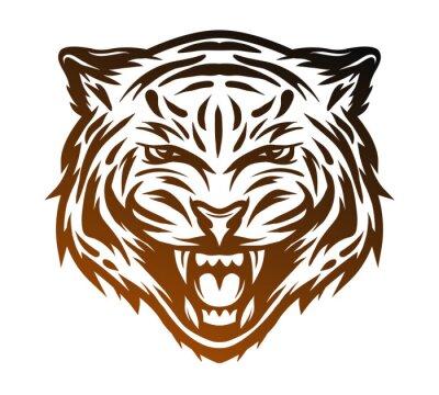 Quadro Face agressiva do tigre. Estilo de arte de linha.