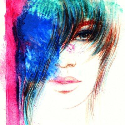Quadro Face bonita da mulher. Ilustração abstrata da aguarela da forma