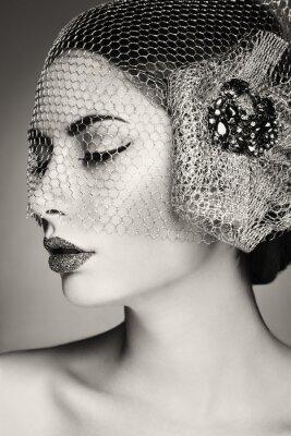 Quadro Face bonita da mulher. Maquiagem perfeita