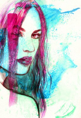 Quadro Face da mulher. Ilustração abstrata da aguarela