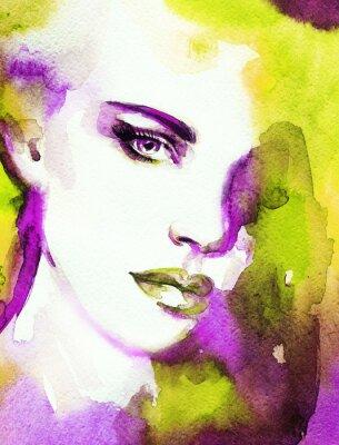 Quadro Face da mulher. Pintados à mão ilustração de moda
