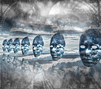 Quadro Faces vazio na composição abstrata
