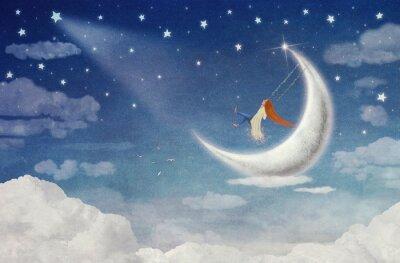 Quadro Fada, montando, balanço, lua, céu