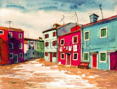 Quadro Famosa Veneza ilha italiana casas coloridas brilhantes aquarela pintura ilustração cartaz mão desenhada arte têxtil padrão de fundo de tela