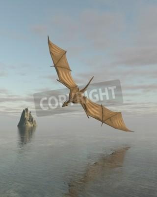 Quadro Fantasia, Ilustração, dragão, voando, baixo, pacífico, oceânicos, daylight ...