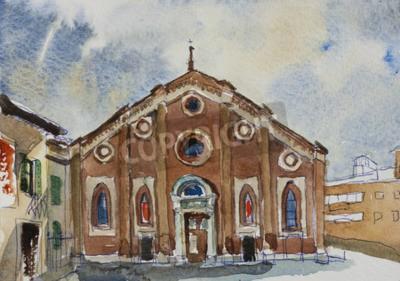 Quadro Fasade original do cartão da pintura da aguarela do delle Grazie de Santa Maria em Milão, Italia