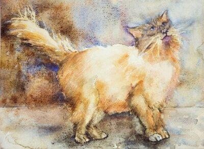 Quadro Fascinado olhando o gato de cabelos compridos. A técnica dabbing perto das bordas dá um efeito de foco suave devido à rugosidade da superfície alterada do papel.