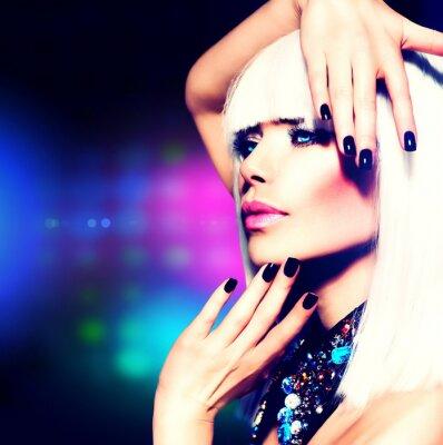 Quadro Fashion Disco Portrait Party Girl. Maquiagem Roxo e Cabelo Branco