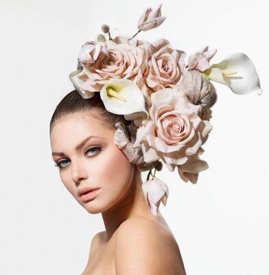 Quadro Fashion Girl beleza com flores do cabelo. Noiva. Penteado Criativo