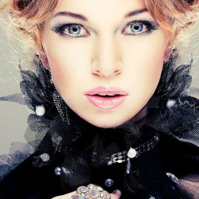 Quadro Fashion girl portrait.Accessorys.Red cabelos.