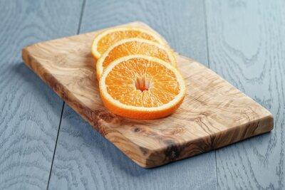 Quadro Fatias, maduro, laranja, azeitona, corte, tábua, raso, foco
