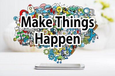 Quadro Fazer coisas acontecer conceito com smartphone