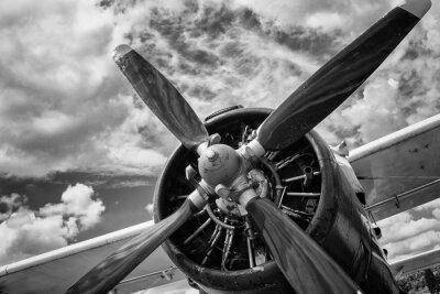 Quadro Feche acima do avião velho em preto e branco