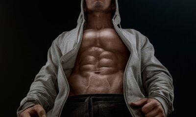 Quadro Feche acima em perfeito abs. Strong bodybuilder com seis pack