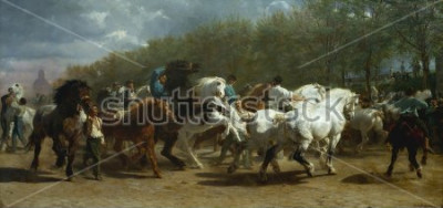 Quadro FEIRA DO CAVALO, de Rosa Bonheur, 1852-55, pintura francesa, óleo sobre tela. O mercado de cavalos em Paris no Boulevard lx90Hopital foi pintado durante um período de 3 anos. Ao esboçar no site par